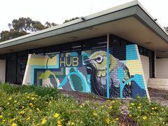 Bently Library 'Hub' sign on wall.jpg